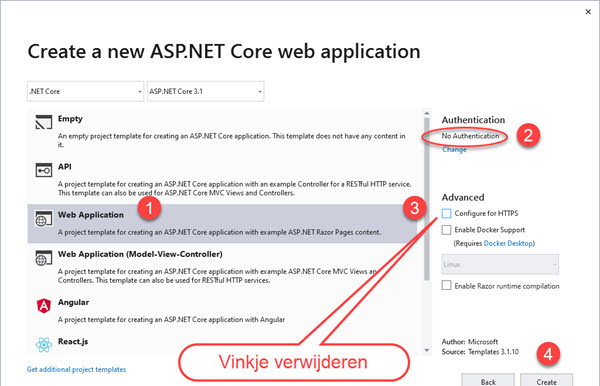 Create a new Project Kies een ASP.NET Core Web Application - Configuratie